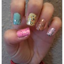 Pastel Nails with Glitter