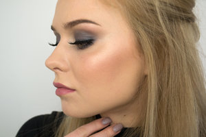 Eyeshadow are from the MUR beyond flawless palette. Lashhes are Ardell wispies. Contour is kat von d shade + light palette an highlight is the body shops baked to last bronzer.
