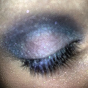 Pink, purple, and blue glittery eyeshadows.