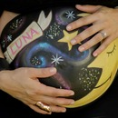 Moon & Stars-inspired belly painting