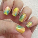 China Glaze Peach Keen,Color Club 220 volts, Misa Happy Happy and Finger Paints Flecked