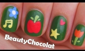 Simple Back to School Nail Art Tutorial ♥ Chalkboard Nail Design for short nails