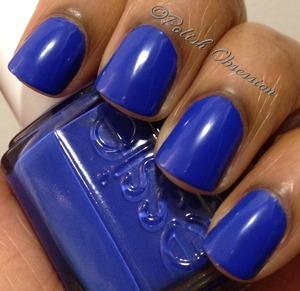 Beautiful bright blue.  No top coat.
