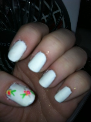 White matte with free hand floral on thumb :)