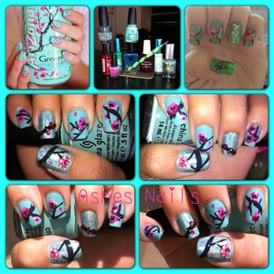 Like this idea but my top coat smeared my design and had to Franken colors because I'm traveling. It's cute though.