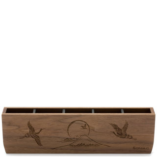 Sonia G. Cranes Over Mt. Fuji Wooden Brush Holder