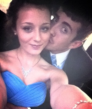 Boyfriend and I in the limo on our way to prom ;*