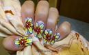 Bold, Maxi Summer Flower Print Nail Art Design Tutorial - ♥ MyDesigns4You ♥