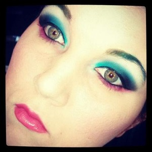 blue smokey eye pink lipstick and ombre eyebrows