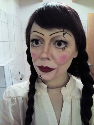 My own take on a brunette Annabelle doll.
