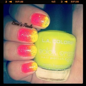 started with a white base and used a neon pink and yellow to create a bright neon gradient!