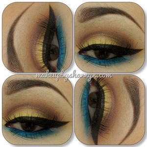 I used all Glamour Doll Eyes Loose Eyeshadow  Lid - Electric Lemonade Crease - Hot Chocolate Lower Lash Line - Melancholy