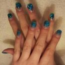 My nails, Blue Glitters.