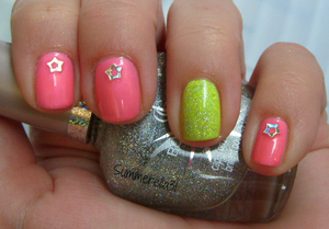 Orly Glowstick, China Glaze Pink Plumeria and Cover Girl City Lights