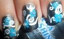 Simple Swirls ~ Blue Floral Nail Art/ Diseño fácil de flores celestes
