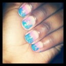 Blue And Pink Ombre With Gltter