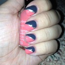 coral and grey nails w/silver stripe