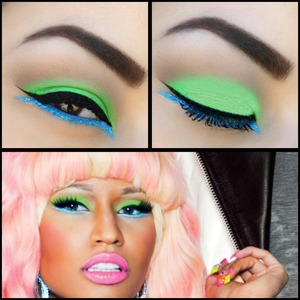 Neon green and blue eyes from her Viva Glam campaign!