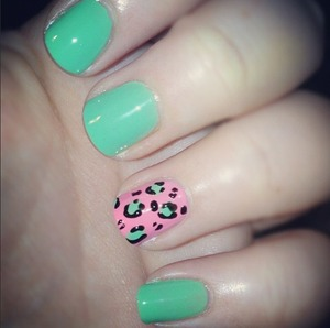 "More green... more leopard print. Woops!  Barry M ""Mint Green"" Barry M ""Black"" Sinful Colors ""Beautiful Girl"""