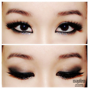 Eye makeup inspired by CL of 2NE1.  For the full picture on Beautylish - http://www.beautylish.com/f/jrgiyi/cl-2ne1-inspired  For more pictures - http://may-mayhem.blogspot.com.au/2013/03/cl-new-evolution-poster-inspired-makeup.html