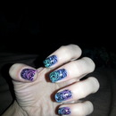 sponged blue green pink and purple lacy nail