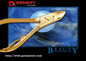 Manufacturers and Exporters of All kinds of Wire Spring Nail Nipper, Wire Spring Nail Nipper Plain Handle, Textured Handle, Flutted Handle, Grooved Handle, Half Gold Plated Handle, Shine Finish, Satin Finish, Sand Finish, Titanium Plasma Coated, Blue Plasma Coated, Full Gold Plated etc.