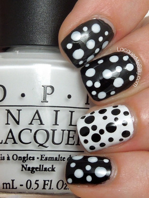 Simple black and white dotticure. For more information please visit my blog post: http://www.lacquermesilly.com/2013/07/02/black-white-polka-dots/