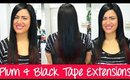 Tape Hair Extension Application - Plum & Black | Instant Beauty ♡