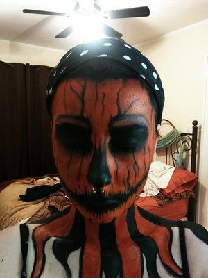 ***Inspired by Madeyoulook by Lex  - Pumpkin King *** Really wanted to try the same look, but orange instead, so it is very very similar (though not quite as well done *bow to the champion* lol) And no sclera contacts.   Used: - Snazzroo (orange) - Mehron (Black, white)