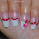 White French Tips, Butterfly and Flower!