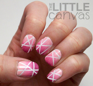 Tape mani using nail art tape from the Born Pretty Store! LOVE IT! Head on over to my blog to see a review :) http://thelittlecanvas.blogspot.com/2013/02/my-first-successful-tape-mani-born.html
