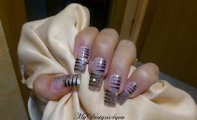Quick, Abstract, Stripes Glitter Nail Art Design Tutorial - ♥ MyDesigns4You ♥