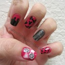 Random fun with my dotting tool. China Glaze Fuchsia Fanatic, Nicole by OPI Follow Me On Glitter, and Chanel Black Satin