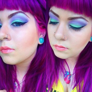 """Eyeshadow is Dottie Bee's Cosmetics in """"Buzzed"""" and """"Out of the Hive"""".  Hair color is Special Effects """"Pimpin' Purple""""."""