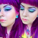 Pastel Teal and Purple look.