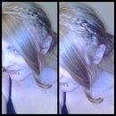 Braided headband with a messy bun