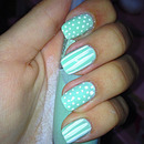 Baby Green With White Dots And Stripes