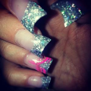 Gel nails- pretty sparkley fan/moon tips. <3