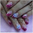 Pink glitter slant nails