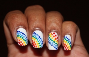 Rainbow nails made easy with dots http://www.bellezzabee.com/2012/09/nail-challenge-day-9-rainbow-nails.html