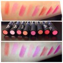 Lipstick swatches of Nabi 8 piece lip set from Amazon