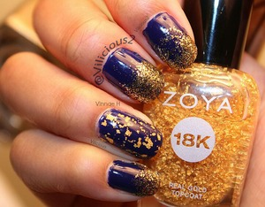 ♡_♡ Royal blue & gold glitter gradient.  The base was Julep Char, a gorgeous royal blue crelly.  The glitter I used for the gradient was Julep Oscar, and the gold flakes were from Zoya Gilty.