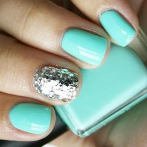 neon turquoise w/ a hint of silver glitz & glam.