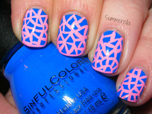 Inspired by Dressed Up Nails: Sinful Colors Endless Blue and acrylic paint  summerell31.blogspot.com