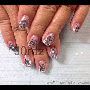 DETAILS BELOW http://fingertipfancy.com/silver-theme-pink-and-turquoise-nails