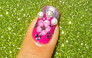 Flower pearl nailart... to watch video tutorial for this look, SUBSCRIBE free to my youtube nailart channel: www.youtube.com/nailartbynidhi