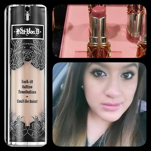 """These two items ladies are my ultimate favorite """"Must Have"""" ♡ Flawless & Natural.   I am wearing Kat Von D lock it foundation and for my lips YSL Tasty Raspberry N*12"""