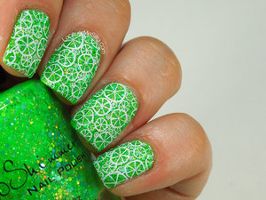 Stamped manicure using KBShimmer textured polish and Winstonia stamping plate. More info can be found on my blog post: http://www.lacquermesilly.com/2014/05/24/stamping-saturday-lime/