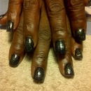 Black Glitter nail polish acrylic nails