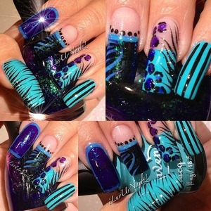 another crazy design by yours truly...I absolutly love this Turquise color I received as a nail mail swap its so besutiful in person...The colors I used are Heaven's Honolulu Orchid And NFU*Oh52 I also addded in some of China Glazes Fairy Dust over random spots and of course I topped it off with my fav top coat Seche Vite